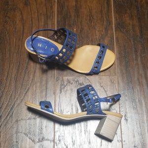 Anthro x Chio blue sandles open toe block heel 6
